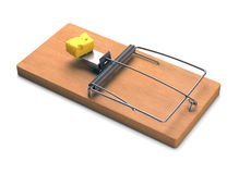 Mousetrap Over White Stock Images