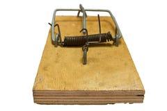 Mousetrap på en white Arkivbild