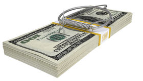 Mousetrap on a pack of money. Business concept stock images