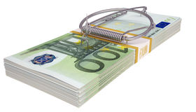 Mousetrap on a pack of money. Business concept Royalty Free Stock Images