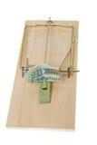 Mousetrap piegato del Bill del dollaro $20 venti isolato Fotografie Stock