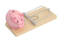 Mousetrap with piggy bank, 3D rendering. On white background Royalty Free Stock Photos