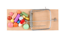 Mousetrap and Pills Stock Photo
