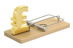 Mousetrap with pound sterling sign, 3D rendering. On white background Stock Photo