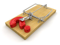 Mousetrap and Question (clipping path included) Stock Images
