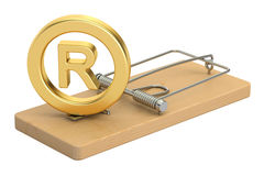 Mousetrap with registered trademark symbol, 3D rendering Royalty Free Stock Photos