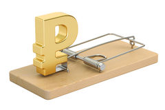 Mousetrap with ruble sign, 3D rendering Royalty Free Stock Images
