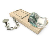 Mousetrap and Rubles. Mousetrap with rubles chained to the plane Royalty Free Stock Images