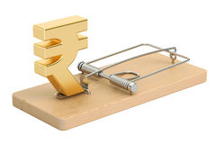 Mousetrap with rupee sign, 3D rendering. On white background Stock Image