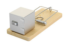 Mousetrap with safe box, 3D rendering. On white background Stock Photo