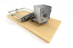 Mousetrap and safe on white background.  3D Stock Photos