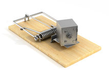 Mousetrap and safe on white background.  3D Stock Image