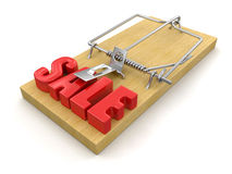 Mousetrap and sale (clipping path included) Royalty Free Stock Photos