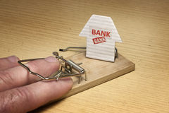 Mousetrap set by the bank Stock Images