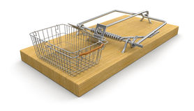 Mousetrap and Shopping Basket (clipping path included) Royalty Free Stock Images