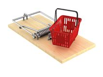 Mousetrap with shopping basket on white background. Isolated 3D Royalty Free Stock Images