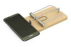Mousetrap with smartphone, 3D rendering Stock Photography