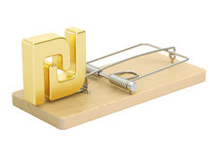 Mousetrap with symbol of shekel, 3D rendering. On white background Royalty Free Stock Image