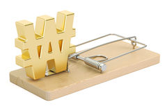 Mousetrap with symbol of won Royalty Free Stock Images