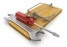 Mousetrap and Tools  (clipping path included) Stock Images