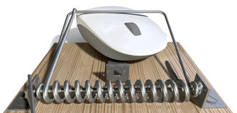 Mousetrap With Trapped Computer Mouse Royalty Free Stock Images
