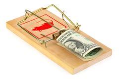 Mousetrap und Geld lizenzfreie stockfotos