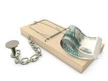 Mousetrap und Rubel Lizenzfreie Stockbilder