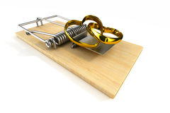 Mousetrap with wedding ring on white background.  3D Stock Images
