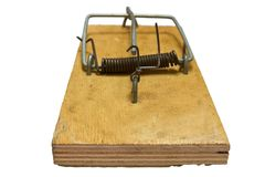 Mousetrap on a white Stock Photography
