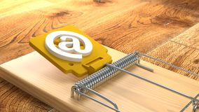 Mousetrap on wooden floor with an at symbol phishing cybersecuri. Ty concept 3D illustration Royalty Free Stock Photo