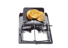 Mousetrap z monetami Zdjęcie Stock