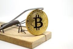 Mousetrap z złocistym bitcoin Zdjęcia Stock