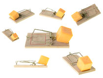 Mousetraps. A collection of set mousetraps at different angles, isolated on a white background Royalty Free Stock Images