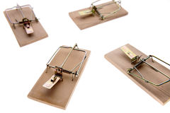 Mousetraps. Four mousetraps over white background Royalty Free Stock Image