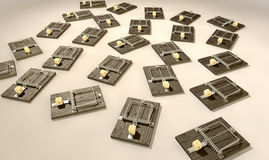 Mousetraps With Cheese Array Far Stock Image