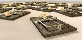 Mousetraps med nära ostsamling Arkivfoton