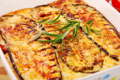 Moussaka. Greek moussaka with aubergine,meat and cheese royalty free stock photos