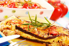 Moussaka. Greek moussaka with aubergine,meat and cheese royalty free stock image