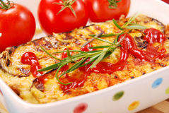 Moussaka. Greek moussaka with aubergine,meat and cheese stock photo