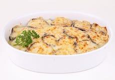 Moussaka. Isolated plate of moussaka on white stock photos