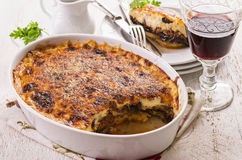 Moussaka. As closeup in a casserole dish stock image