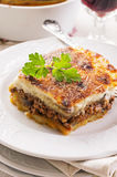 Moussaka. As closeup on a white plate royalty free stock images