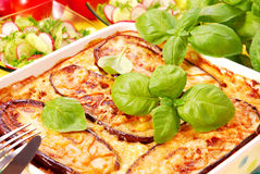 Moussaka with aubergine Royalty Free Stock Images