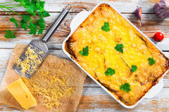 Moussaka baked in oven in gratin dish stock photo