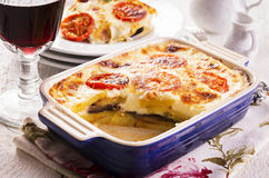 Moussaka in Casserole Dish. Moussaka as closeup in a casserole dish royalty free stock photo
