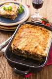 Moussaka in casserole form Stock Photos