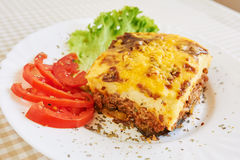 Moussaka dinner. Professional studio shot Royalty Free Stock Photo