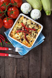 Moussaka dish with aubergine and chili pepper Royalty Free Stock Photos
