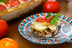 Moussaka dish with eggplants, traditional greek meal stock images