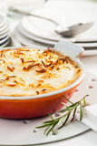 Moussaka. A dish of moussaka, a typical Greek dish, prepared with, eggplant, meat and cheese stock images